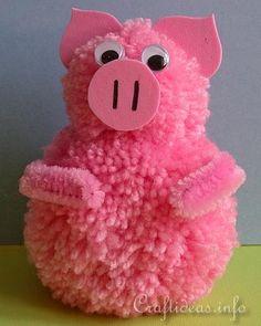 Summer Craft for Kids using Yarn - Pom-Pom Pig