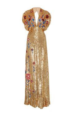 Gold Sequin Gown by Temperley London | Moda Operandi