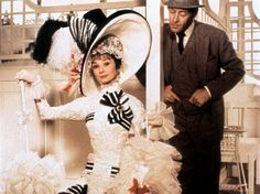 Audrey and Rex in My Fair Lady~ ~ tweed 3 piece suit & hat ~ white fitted lace/ black striped ribbon accents. could use shower cap w/ hat attached.