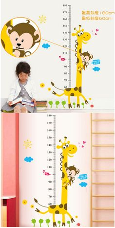 Home Decor | Kids Height Chart Wall Sticker home Decor Cartoon Giraffe Height Ruler Home Decoration room Decals Wall Art Sticker wallpaper – US $3.18