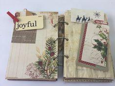 Joy Christmas Journal, Junk Journal, Tea Dye Journal, Mini Album, Photo Album, Vintage Journal