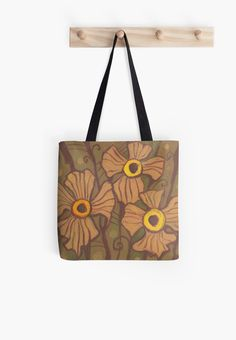 Yellow-eyed flowers, floral motif, pastel painting, imaginative art Tote Bag by Clipso-Callipso / Julia Khororshikh #floral #flowers #catchy #bag