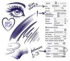 Anonymous said: What brushes do you use for your line art? Answer: I primarily use these settings for most of my lines / sketching I also set my eraser with the same settings Digital Painting Tutorials, Digital Art Tutorial, Painting Tools, Art Tutorials, Drawing Techniques, Drawing Tips, Drawing Reference, Sai Brushes, Photoshop Brushes
