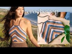 This is a beautiful crochet summer top tutorial with easy step by step instructions. Learn how to crochet boho crop top with elegant stitching and adjustable straps for a flawless fit. T-shirt Au Crochet, Beau Crochet, Bikini Crochet, Crochet Shirt, Crochet Crop Top, Basic Crochet Stitches, Crochet Woman, Crochet Basics, Knitting Stitches