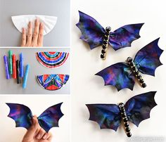 These coffee filter bats are such an easy Halloween craft to make with the kids! They're fun, spooky, simple to make and surprisingly beautiful! They'd make great Halloween decorations! I love the black rhinestones! Crafts To Do, Arts And Crafts, Kindergarten Crafts, Bikinis, Swimwear, Fashion, Moda, Craft Items, Bikini