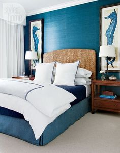 Elongated art such as the Seahorse panels look fabulous flanking a queen size bed with rattan headboard.