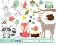 Wald Tiere ClipArt Fox Clipart Vogel-Clipart Eule von KriiCreations