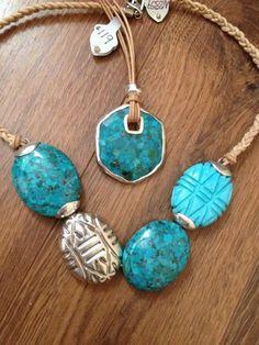 Layering turquoise necklaces! new this spring from Silpada.