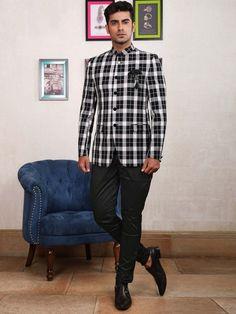 da9d217efe66 Terry Rayon Tweed Pattern White Jodhpuri Suit