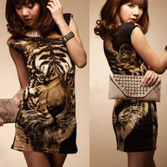 Fashion Tiger Print Womens Sleeveless Mini Dress Sundress Cami Top Stretch Vogue