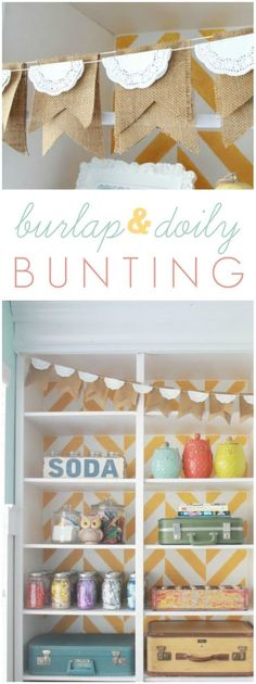 As promised, today I'm sharing my easy burlap doily bunting. It's actually two separate buntings that I hung from the same vintage tacks but I love them Doily Bunting, Bunting Flags, Buntings, Burlap Garland, Bunting Garland, Garland Ideas, Sisal, Diy Craft Projects, Diy Crafts