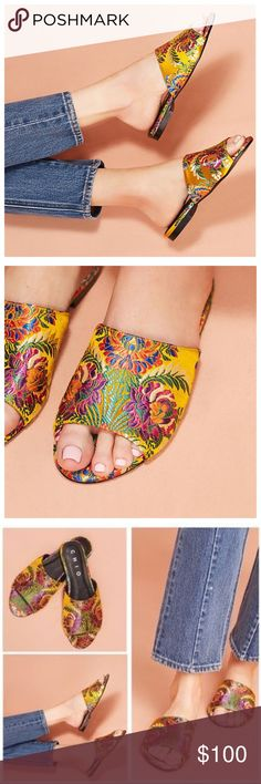 💃HP💃Anthropologie Chio Brocade Slide Sandals NWT Whimsical brocade flowers flourish across these stunning spring-forward shoes. Made in Spain by Chio❤️ Brand new never worn  Fits true to size Satin brocade upper Leather insole, sole Slip-on styling Spain Anthropologie Shoes