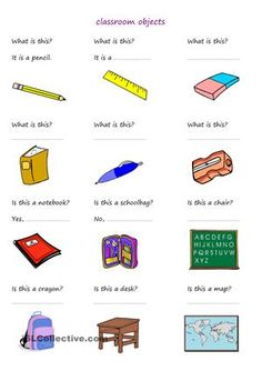 students answer questions about classroom objects - ESL worksheets Conversation Questions, Conversation Cards, Spanish Worksheets, Kindergarten Worksheets, Preschool Assessment, English Lessons, Learn English, English Class, Teaching English