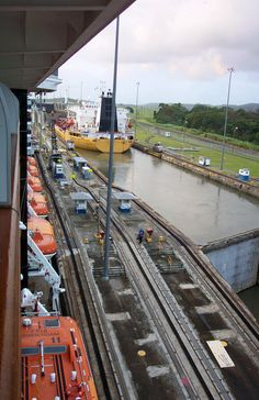 Going through the Panama Canel on our ship.  We had a balcony room which made watching it great!