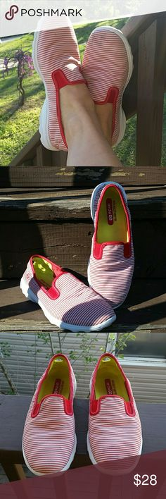 Skechers sneakers Very cute red & white striped slip-on Skechers. Neon yellow inside and accent. White bottoms show some cosmetic wear only, the soles are in great shape with plenty of life left! Close-up photo shows the worst of the scuffs on the fabric of the shoes. Very comfortable and adorable to run around this summer! Skechers Shoes