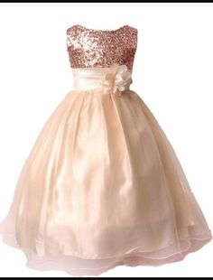 Sequined rose gold flower girl dress                                                                                                                                                                                 More - women beautiful dresses, dress of ladies, black and pink dress *ad