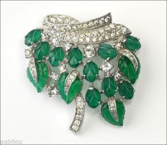 Vintage Jomaz Fruit Salad Emerald Green Leaf Molded Glass Rhinestone Brooch Pin | eBay