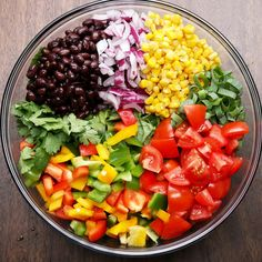 Southwestern Salad With Avocado Dressing Recipe by Tasty - Salad Recipes Vegetarian Recipes, Cooking Recipes, Healthy Recipes, Good Salad Recipes, Sauce Recipes, Lettuce Salad Recipes, Bean Salad Recipes, Apple Recipes, Recipes Dinner