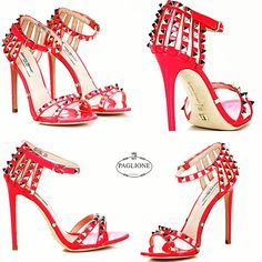 Sexy and red. Spiky sandal by #giannirenzi Shop now: http://bit.ly/1MHlNYK #PaglioneShoes #fashion #style #luxury