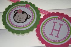 Lil Monkey Girl Mod Pink Green Birthday Banner  by PinkInkCreation, $18.00