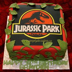 Jurassic Park Edible Image Birthday Cake With Fondant Vines And Leaves on Cake Central