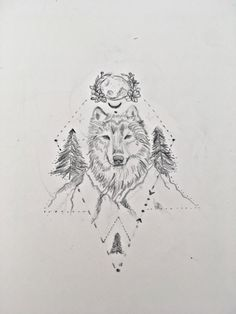 Dessin tatouage loup, tattoo wolf