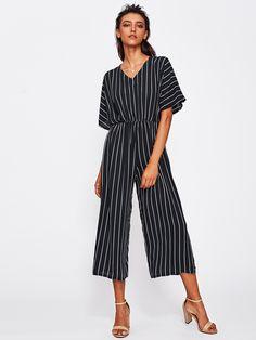65b801b1eae Shop Overlap Tie Back Vertical Striped Wide Leg Jumpsuit online. SheIn  offers Overlap Tie Back