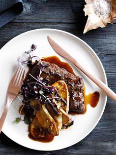 Pan-fried flank steak with shallot, mushroom and Madeira sauce