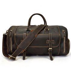 Crazy Horse Genuine Leather Travel Bag Men Vintage Travel Duffel bag big  Cow Leather Carry On 97992efae8