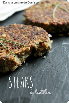 Lentil Steaks for Burger, Gluten Free - In Djanisse's {vegan} cuisine Sin Gluten, Sans Gluten Vegan, Lentil Burgers, Vegan Burgers, Snacks To Make, Easy Snacks, Veggie Soup Recipes, Vegetarian Recipes, Steaks