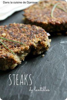 Steaks de lentilles pour burger, sans gluten - #vegan - Dans la cuisine végétalienne de Djanisse