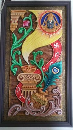 Clay Wall Art, Mural Wall Art, Mural Painting, Fabric Painting, Murals, Paintings, Kalamkari Painting, Tanjore Painting, Clay Art Projects
