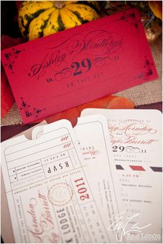 vintage wedding invites, train ticket, Photography © Eric Limon - http://www.maweddingphotographers.com/ - Invitations and Programs: Laura Nehls - http://www.etsy.com/shop/LetterBoxInk