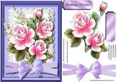 A beautiful card to make and give to anyone with lilac roses and bell flowers on lace has one greeting tag and a blank ,