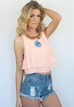 Summer Pale Pink RaRa Ruffle Tiered Crop Top