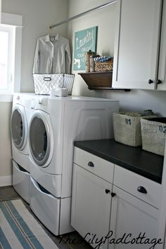 Clothing rod above washer and dryer