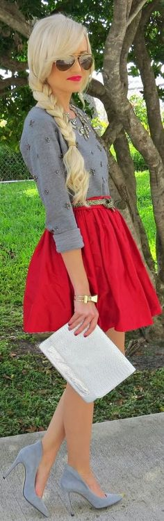 Braid, aviators, skirt, embellished sweater, bow bracelet, necklace, clutch, shoes---- LOVE IT ALL! :: Vintage Fashion:: Retro style:: Get in My Closet:: Winter Chic