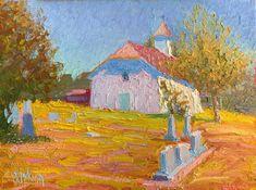 Round Top Church, Round Top, Texas, 9 x 12 inches, Oil.  Artist, Guy Jackson Impressionist Art, Round Top, Art Oil, Jackson, Guy, Texas, Contemporary, Artist, Painting