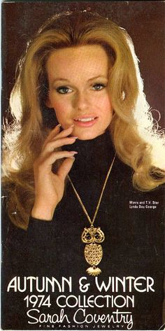 Lynda models Sarah Coventry jewelry, 1974.