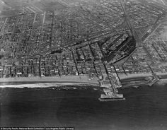 Circa aerial view of the city of Venice and the original canals. Courtesy of the Los Angeles Public Library Photo Collection. Venice California, California History, Southern California, Abbot Kinney Venice, Venice Canals, Los Angeles Neighborhoods, San Luis Obispo County, Grand Canal, Venice Beach