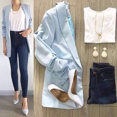 30 Catchy Blue Work Outfit Ideas ~ Fashion & Design - - Outfits for Work Casual Work Outfits, Business Casual Outfits, Professional Outfits, Mode Outfits, Office Outfits, Work Attire, Work Casual, Chic Outfits, Trendy Outfits