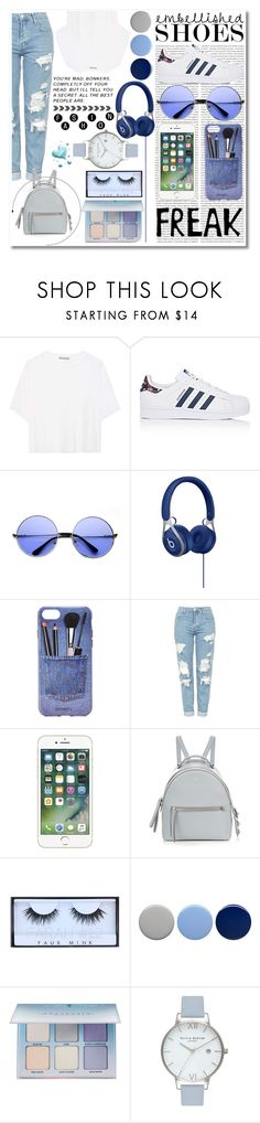 """""""Feeling Blue"""" by paulahastings on Polyvore featuring Oris, Vince, adidas, ZeroUV, Iphoria, Topshop, Fendi, Huda Beauty, Burberry and Anastasia Beverly Hills"""