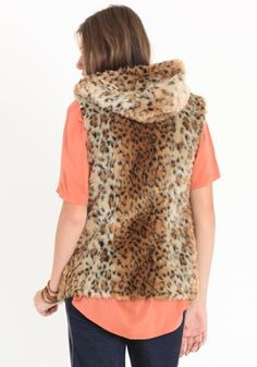 Medine Faux Fur Hooded Leopard Vest - $48.00 : ThreadSence.com, Your Spot For Indie Clothing & Indie Urban Culture - StyleSays