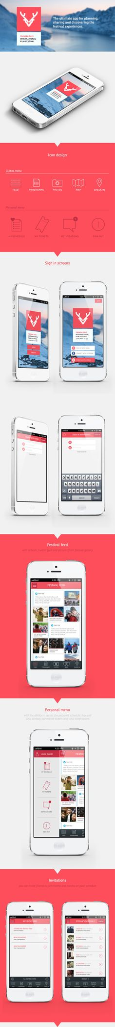 Festival app | Tromsø International Film Festival by Hanna Elise Haugerød, via Behance