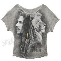 Bob Marley Profile Grey Oversize Dolman T-Shirt - Women's #BobMarley