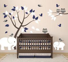 Nursery Decor with Vinyl Wall Decals of Elephants, Tree, Owls, Birds, and Butterflies