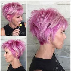 Bubblegum Punk Wonderful pink hair color and short messy style by @alexisbutterflyloft #hotonbeauty #hothairvids by hotonbeauty