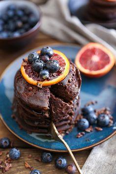 Chocolate Buckwheat Pancakes - gluten-free, packed with protein! | TheRoastedRoot.net #breakfast #glutenfree #pancakes