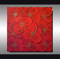 Original Textured Art Abstract Red Flowers Painting