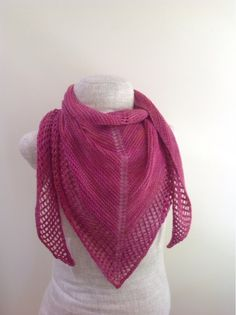 This shawl is so soft and light, perfect for spring or summer, especially with the pretty pinks of the yarn.  I used one skein of KnitPicks ...